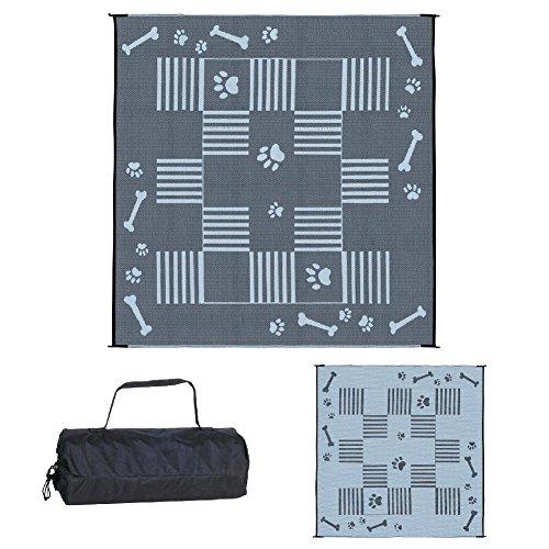 Ming's Mark DA1 Hundematte / Terrassenmatte, wendbar, 2,7 x 2,7 m, Schwarz 1