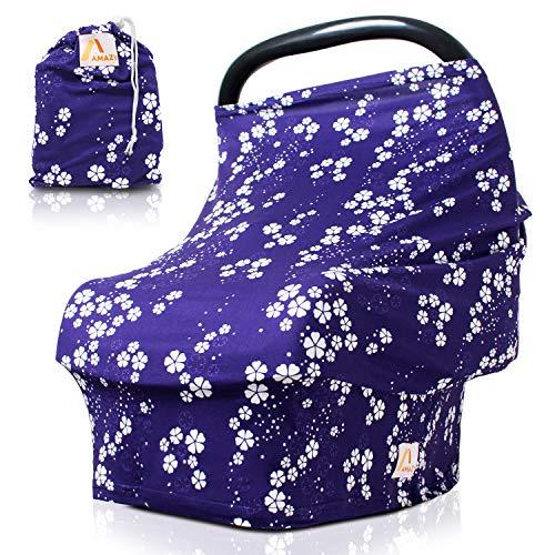 Amazy Autositzbezug für Babys inkl. Aufbewahrungsbeutel – Dehnbare Abdeckung für Babyschalen oder als Stilltuch und Einkaufswagenschutz für Ihr Baby | In 5 Designs erhältlich (Blau | Blumen)