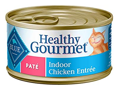 Blue Buffalo Healthy Gourmet Natural Adult Pate Wet Cat Food, Indoor Chicken 3-oz cans (Pack of 24), 800113