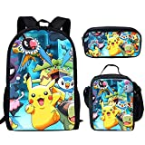 spArt Anime Pikachu Print - Mochila escolar para niños (3 piezas), Pokemon A8 (Multicolor) - sp-cgk