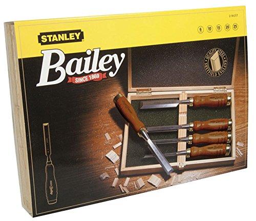 Stanley 2-16-217 Ciseau À Bois avec manche Bois Dans Un Coffret - Vernis incolore - Lame en Acier Chromé - Jeu de 5 Ciseaux : 6-10-15-20-25 mm