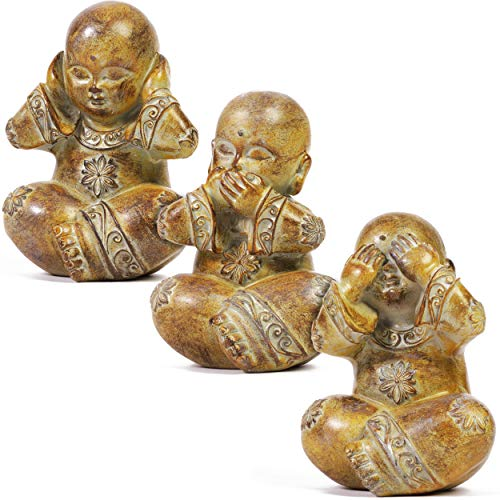 Buddha Statue Set, Hear See Speak No Evil Figurines (4.7 Inches, 3-Pack)