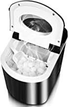 TRUSTECH Ice Maker - Stainless Steel Ice Machine, 8 Mins for 9 Ice Bullets with S/L Size, Easy to Use Ice Making Machine with LED Display, Timer, Ice Scoop and Bucket, Perfect for Parties Mixed Drinks