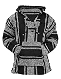 Mexican Baja Hoodie Hippie Surf Poncho Sweater Sweatshirt Pullover Jerga (Medium, Black/White)