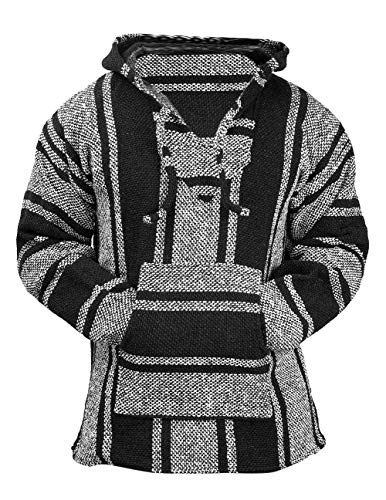 Classic Mexican Baja Hoodie Sweater Pullover (Black/White, X-Large)