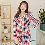 YSKDM Autumn New Women's Cotton Satin Pajamas Sleepwear Femme Long Sleeve Pyjamas Sets with Pants Sleep Lounge Pijama Night Underwear,Pink Plaid,L