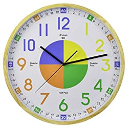 16-Inch Pine Frame Kids Learning Time Teaching Educational Wall Clock Colorful Large Decorative Silent Non-Ticking Battery Operated for Parents Teachers and Kids Bedroom Playroom Classroom
