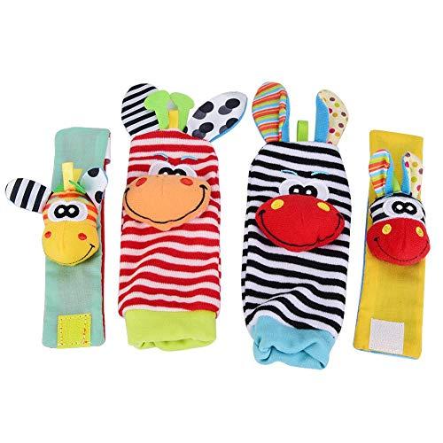 Calcetines y Muñeca para Bebé, 4pcs bebé calcetines y muñequeras sonajero juguetes conjunto de dibujos animados animales de peluche muñecas con anillo de campana(#4)