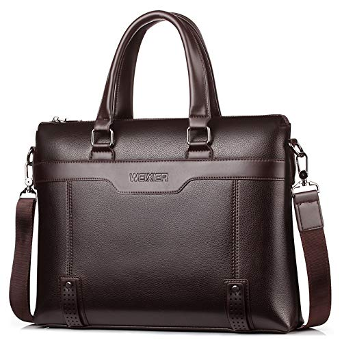 Business Casual Men Briefcase Crossbody Laptop Bag Travel Leather Handbag 1 X Maletín Marrón