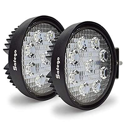 LED Pods Light Bar Safego 4inch Round 2Pcs 27w Waterproof Flood Beam Cree Led Work Light Off Road Lights Driving Light for Truck Jeep Wrangler Suv Atv Tractor Boat
