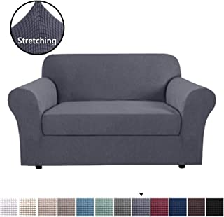 H.VERSAILTEX High Stretch Rich Jacquard 2-Piece Sofa Cover/Loveseat Furniture Cover/Slipcover, Machine Washable Spandex Jacquard Fabric Stay in Place, 2 Seater, Grey