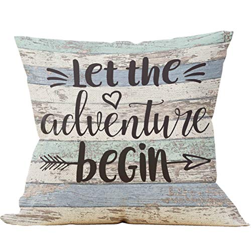 Mancheng-zi Let The Adventure Begin Throw Pillow Case, Campers Gifts, Adventure Nursery Decor, Camper Decor, 18 x 18 Inch Trailer Pillow Decorative Cotton Linen Cushion Cover for Sofa Couch Bed