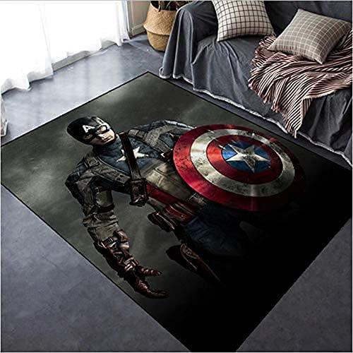 chengcheng Home Alfombra Spiderman Hulk Capitán América The Avengers Anime Marvel Alfombra Piso Alfombra De Dormitorio Alfombra Antideslizante Alfombra De Yoga De Dibujos Animados 80X150Cm