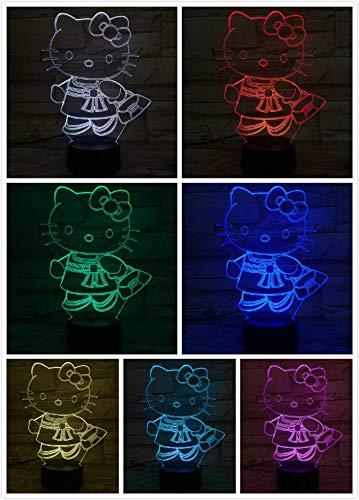 3D Illusion Led Night Light Table Lamp Cute Hello Kitty Cute Girl Cartoon Cat Baby Nursery Room Kids Bedroom Decoration Gift