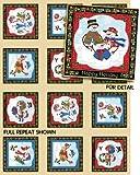 Schneemann Platten auf ecru Baumwolle Quilten