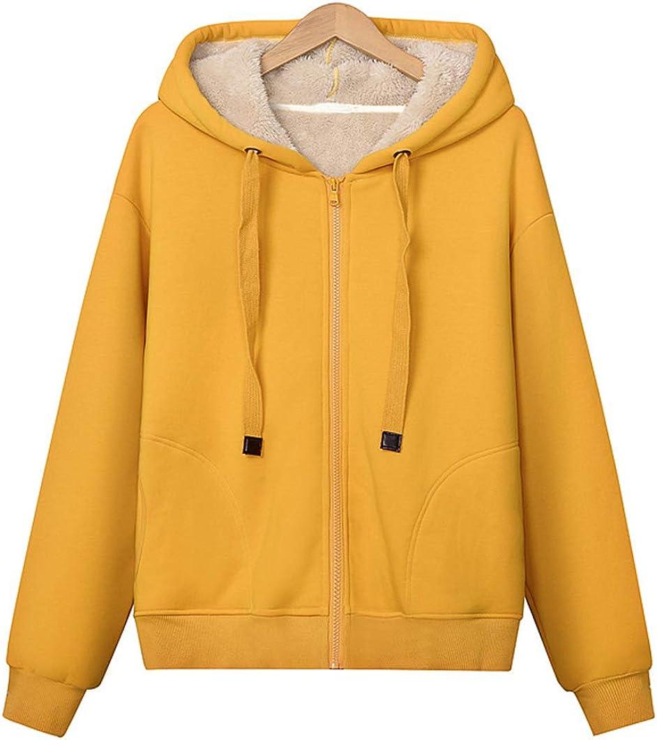 Duyang Women's Zip Cheap mail order sales Up Sherpa Max 84% OFF Hoodie Sweatshirts Lined Drawstring