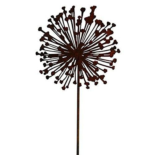 Wunderschöner & Hochwertiger Gartenstecker – Rost Blume/Blumenstecker – Große Auswahl – Edelrost Dekoblume – Metall Gartendeko (Flache Allium - Ø 20cm)