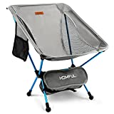 HOMFUL Camping Chair,Ultralight Portable Backpacking Chairs with Storage Bag Folding Chair for Outdoor,Camping,Hiking,Picnic,265lbs Capacity(Gray)