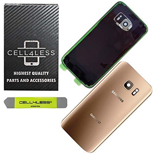 CELL4LESS Compatible Back Glass Cover Back Door w/Installed Camera Lens, Custom Removal Tool & Installed Adhesive Replacement for Samsung Galaxy S7 - All Models G930 - OEM Replacement (Gold)
