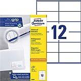 AVERY Zweckform 3424 Adressaufkleber A4 (mit ultragrip, 105x48 mm, 100 Blatt, Papier matt, bedruckbar, selbstklebende Adressetiketten, 1.200 Klebeetiketten) weiß
