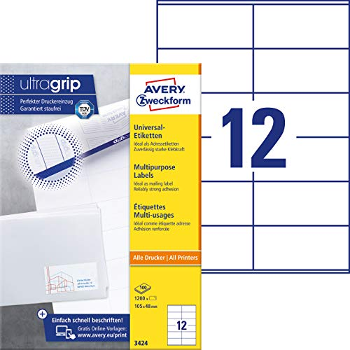 AVERY Zweckform 3424 Adressaufkleber (1.200 Klebeetiketten, 105x48mm auf A4, Papier matt, individuell bedruckbare Absenderetiketten, selbstklebende Adressetiketten mit ultragrip) 100 Blatt, weiß