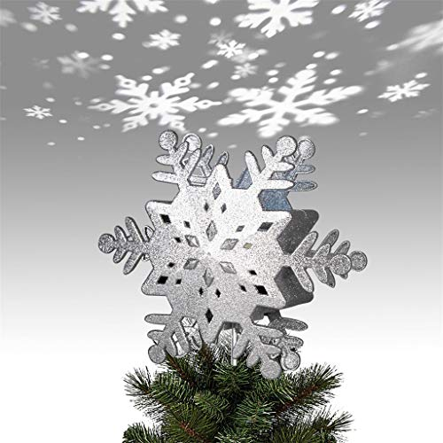 EAMBRITE 9' Hollow Silver Snowflake Christmas Tree Top Lights with Rotating Snowflakes Group Projector Christmas Tree Decoration
