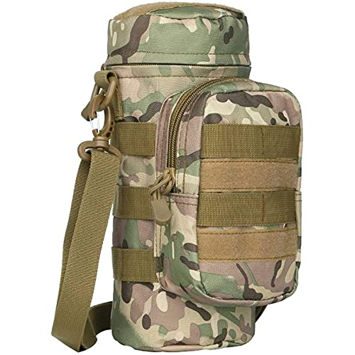 Tactical Molle Water Bottle Pouch, Multicam Military Army Molle Water Pouches Carrier Holder with Pocket for Hiking Camping Outdoor Sport Travel