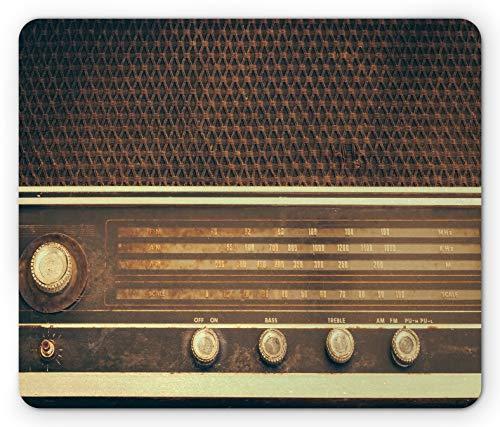 Vintage Mouse Pad Alte antike Retro 60S Style Radio Musik Player Lautsprecher Tasten Bild Rechteck rutschfeste Gummi Mousepad Standardgröße Weiß Braun