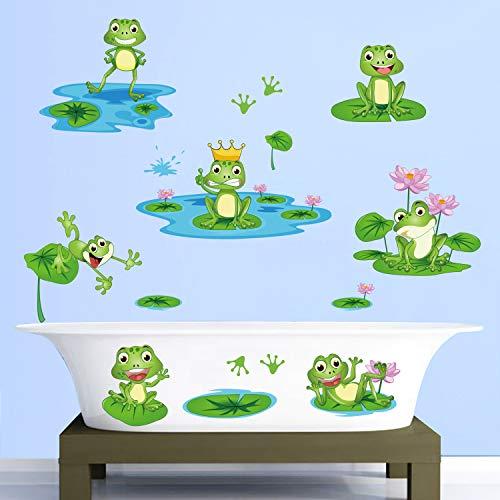 decalmile Wandtattoo Frosch Wandsticker Teich Lotus Blumen Kinderzimmer Wandaufkleber Babyzimmer Schlafzimmer Badezimmer Wanddeko