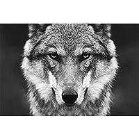 オオカミの頭の壁のアート画像野生動物のポスター北欧スタイル白黒キャンバス絵画プリントホームルームの装飾20x30cmフレームなし