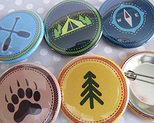 Scout Badges, Merit Badges Pins - Outdoor Nature Camp Badges Pins - Set of 10 or 30