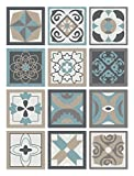 Panorama Azulejos Adhesivos Cocina Baño Pack de 72 Baldosas de 10x10cm Diseño Hidráulico Azul - Vinilos Cocina Azulejos - Revestimiento de Paredes - Cenefas Azulejos Adhesivas
