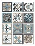 Panorama Azulejos Adhesivos Cocina Baño Pack de 48 Baldosas de 15x15cm Diseño...