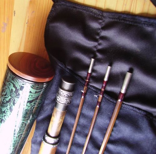 Special Design 7.6'3pcs 2tips Wooden Handle Bamboo Fly Rod #4 with Delux Tube