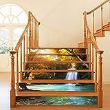 6 unids / set 3d cascada paisaje patern escalera Pequeño piso DIY autoadhesivo escalera decoración impermeable PVC pared decoración casera decoración escalera pegatinas calcomanías pelotales y