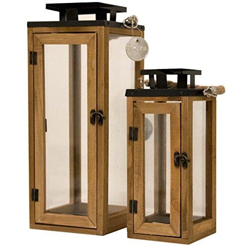 Dekovita 2er-Set Gartenlaterne 30cm/42cm Holz-Laternen inkl. Kordel Henkel Windlicht hitzebeständiges Temperglas