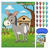 FEPITO Pin The Tail auf dem Esel Partyspiel mit 24 Stück Schwänzen für Kindergeburtstags Partydekorationen, Karnevals Zirkus Partyzubehör