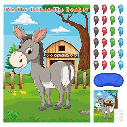 FEPITO Pin The Tail en el Juego de Fiesta de Burro con 24 Piezas de Colas para Decoraciones de Fiesta de cumpleaños para niños, Suministros de Fiesta de Carnaval de Circo