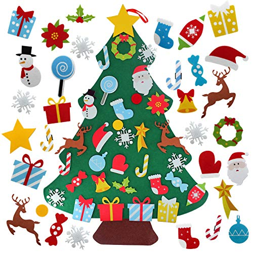 AOOTOOSPORT Felt Christmas Tree Set, 3ft Children's DIY Xmas Tree Wall Hanging Decorations with 32Pcs Ornaments, My First Christmas Tree Gifts for Christmas, New Year, Various Festivals