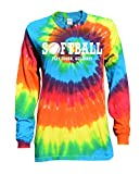 JANT girl Softball Rainbow Tie Dye Long Sleeve T-Shirt Play Tough, Get Dirty Logo (YL)