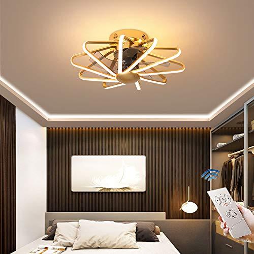 CAGYMJ Ventilador De Techo con Iluminación De Techo LED Luz Velocidad del Viento Ajustable Control Remoto Ultra Silencioso Ventilador De Tiempo Candelabros Luces De Ventilador De Dormitorio,Oro