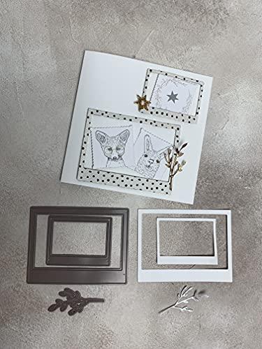Stanzschablone Rahmen Sofortbildkamera Bilderrahmen duo mit Zweig, 8,5x11 cm & 5,5x7 cm, 3-tlg.