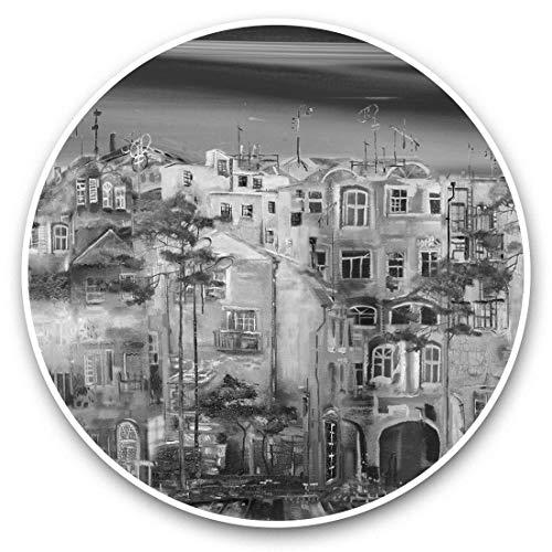 Impresionantes pegatinas de vinilo (juego de 2) 25 cm Bw – Pintura abstracta casas ciudad Divertidas calcomanías para portátiles, tabletas, equipaje, reserva de chatarras, neveras, regalo fresco #43851