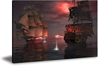 Pirate Ship Painting - Sea Landscape Ghost Sailboat Wall Art Seascape Pictures Print on Canvas 16x22inch Huge Panel Artwork for Living Room Bedroom Office Bathroom Home Decor Stretched and Framed