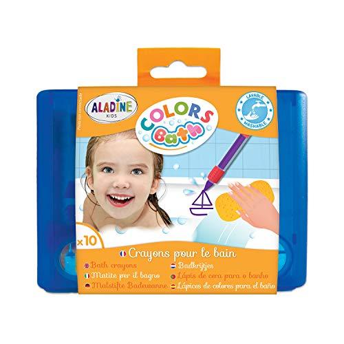 Aladine - Colors Bath - Crayons pour le Bain - Feutres de Bain - Pour Dessiner sur la Baignoire ou Sous l'Eau - Avec boîte de rangement - À partir de 3 Ans
