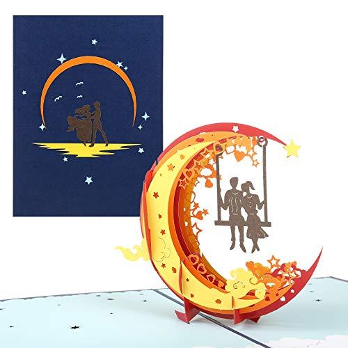 Kesote 3D Tarjetas de Boda Tarjetas de Felicitación Amantes Tarjetas de Regalo Día de San Valentín Aniversario (Luna)
