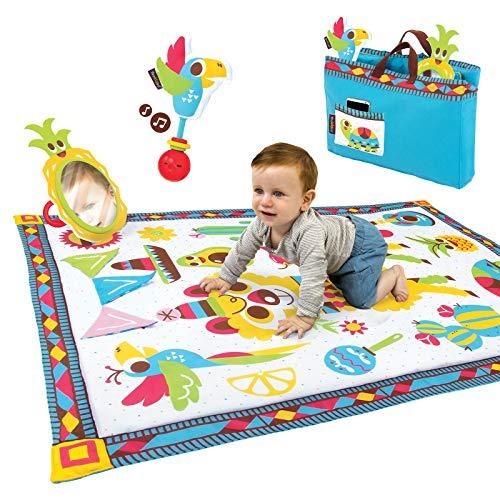Yookidoo - Fiesta manta de juego con bolsa, manta actividades bebé, gimnasio bebé de 0 a 24 meses