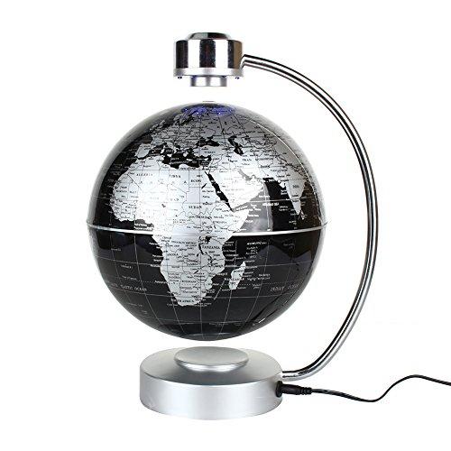 Magnetic Levitation Floating World Map Globe, 8' Rotating Planet Earth Globe Ball with LED Desk Display Stand -Elegance Levitation Globe Gift for Kids Home Office[Black]