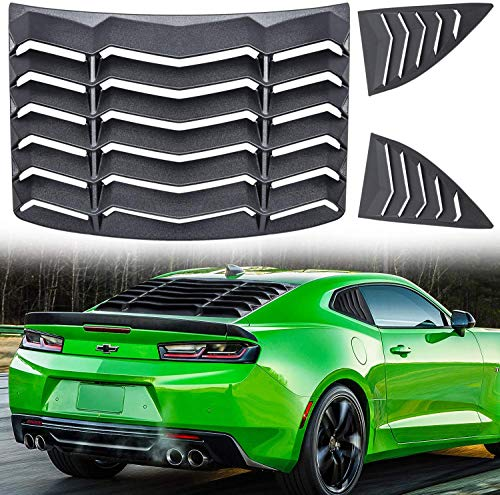 Matte Black Rear and Side Window Louvers Sun Shade Cover in GT Lambo Style for Chevy Chevrolet Camaro 2010-2015