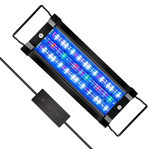 Marine Saltwater Aquarium Light for 10-30 Gallon or 12-18 inches Nano Reef Coral Tank 18W Full Spectrum Light Including Royal Blue (410- 430 nm) Royal Violet (390- 400 nm) , LPS & SPS 80 LEDs
